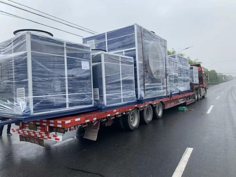 苏州顶裕18台玻璃钢爱博体育登录隔音箱发往广东危废行业